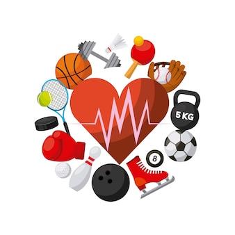 スポーツ関連のアイコンが付いた心臓の心臓