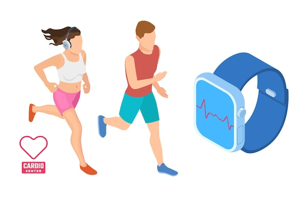 Cardio workout concept. isometric runners monitoring heart activity. smart fitness vector illustration. health app on device gadget smartwatch