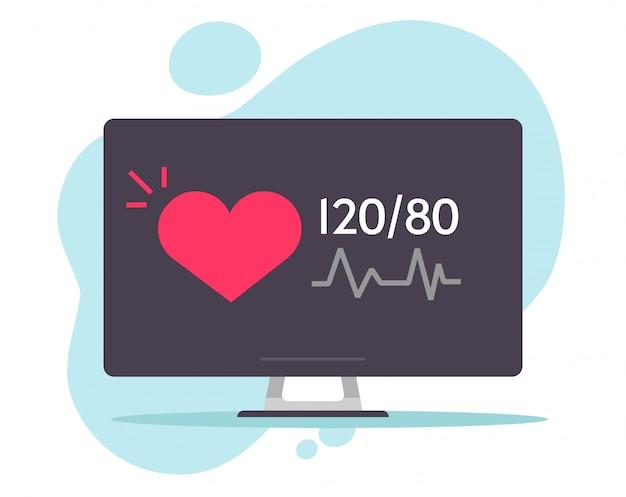医療用コンピューターの画面上の心拍と心臓の心電図心電図医療