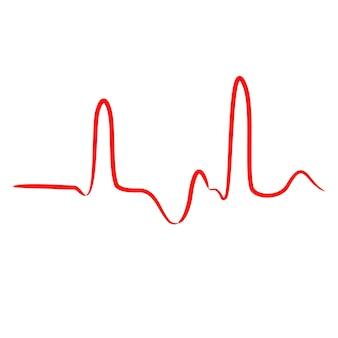 Кардиограмма, неправильная синусоида от контурных красных линий кисти разной толщины на белом фоне. векторная иллюстрация.
