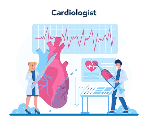 Cardiologist concept illustration in cartoon style
