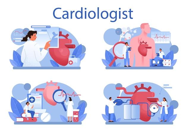 心臓専門医の概念セット。漫画スタイルの孤立したイラスト