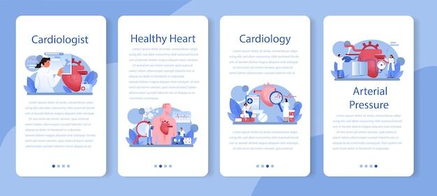 循環器専門医のモバイルアプリケーションバナーセット。心臓のケアと医療診断のアイデア。医師は心臓病を治療します。内臓外科医。漫画スタイルの孤立したイラスト
