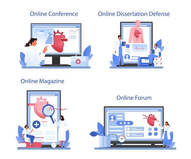 心臓専門医のオンラインサービスまたはプラットフォームセット。心臓のケアと医療診断のアイデア。医師は心臓病を治療します。オンラインフォーラム、雑誌、会議、論文防衛。フラットベクトル図