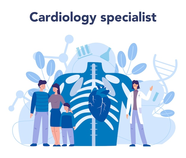 Cardiology doctor make diagnos and treatment of congential heart defect