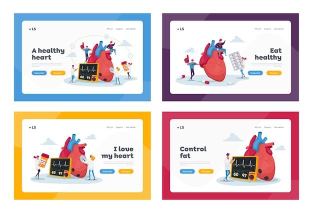 심장 건강 관리 의학 방문 페이지 세트