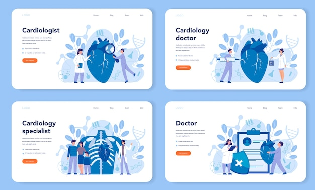 Cardiology web banner or landing page set.