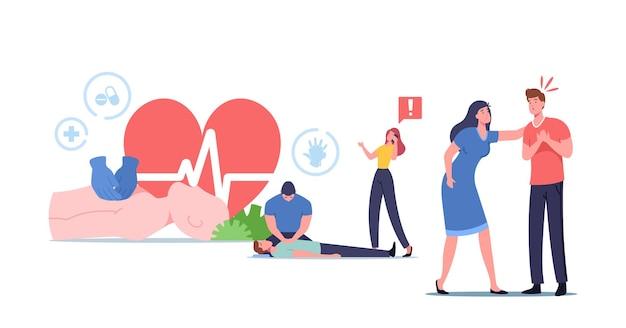 心肺蘇生法、応急処置、cpr緊急処置。キャラクターは、地面に横たわっている重要な患者に心臓マッサージを行います。小さな女性が救急車を呼ぶ。漫画の人々のベクトル図