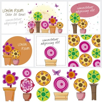Cards and banners with colorful flowers