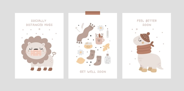 Cards collection with baby animals and wishes quotes get well soon. socially distanced hugs