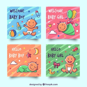 Cards collection with cute babies