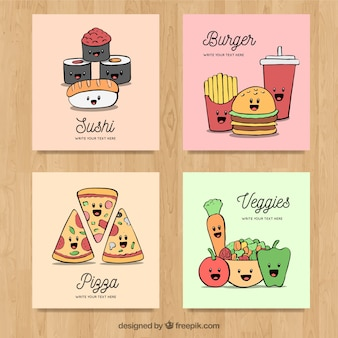 Cards collection with different food
