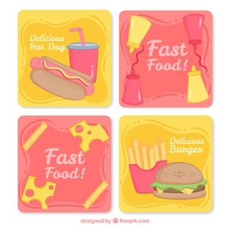 Collezione di carte con cibo diverso