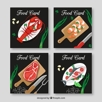 Cards collection with food