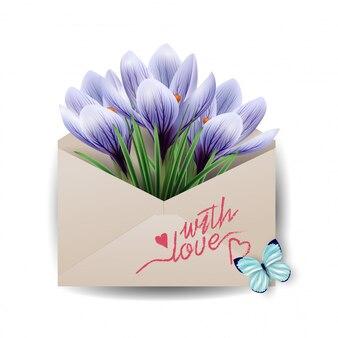 Открытки на день святого валентина. красочные весенние цветы, крокусы в конверте со словами «с любовью. концепция весеннего фона».