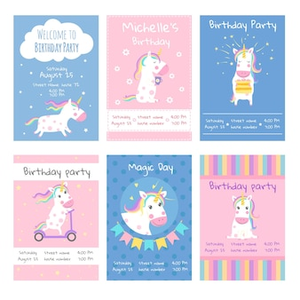 Cards invitations. design template cards with pictures of cute unicorns.