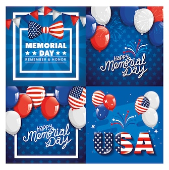 Cards memorial day, honoring all who served, with decoration  illustration