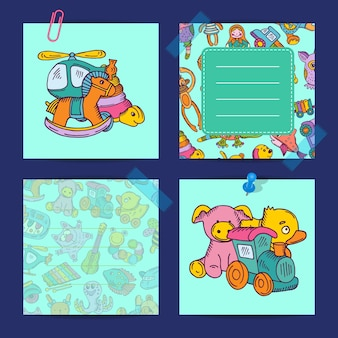 Cards for notes set with children colored toys illustration