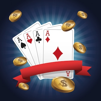 포커와 동전 아이콘의 카드입니다. 카지노와 라스 베이거스 테마