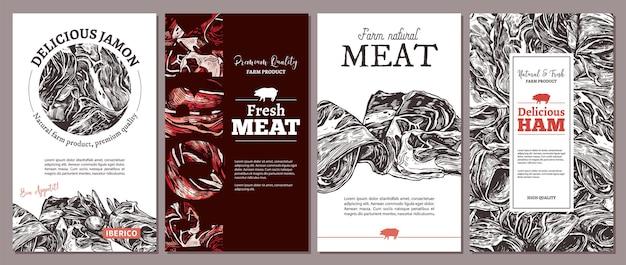 손으로 그려진 Jamon 일러스트와 함께 자연 농장 고기 고기에 대한 카드, 포스터 또는 레이블 프리미엄 벡터