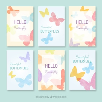 Cards pretty of pastel butterflies
