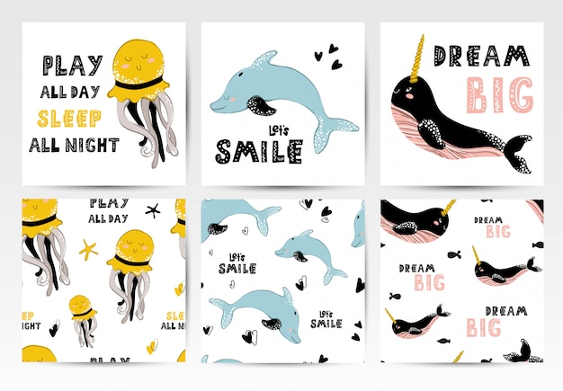 Cards and seamless patterns with sea animals