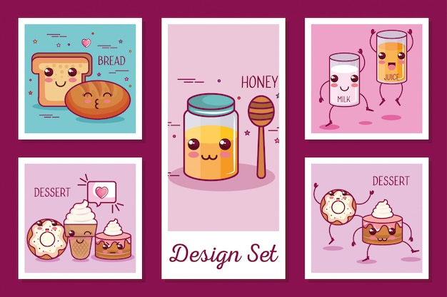 Cards set of breakfast icons kawaii style