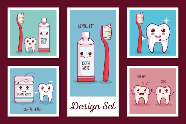 Cards set of dental health icons