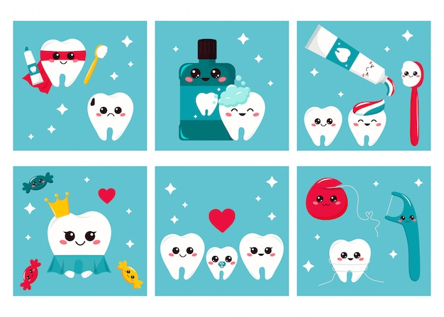 Cards set of dental hygiene for kids. cute cartoon characters - teeth, toothbrush, toothpaste, dental floss.
