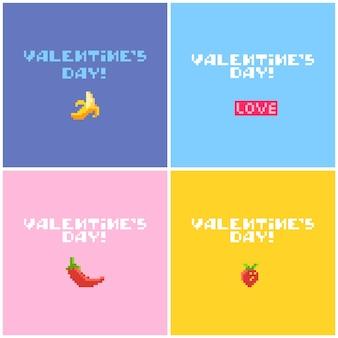 귀여운 픽셀 아이콘으로 발렌타인 데이 카드 세트