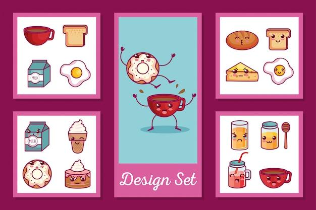 朝食アイコンかわいいスタイルのカードセット