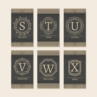 Cards set with monogram letters s-x cards