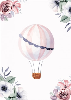 Cards templates with flowers and cute ballon