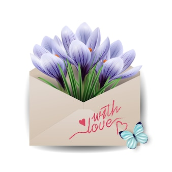 Cards for valentines daycolorful spring flowers crocuses in the envelope concept spring background