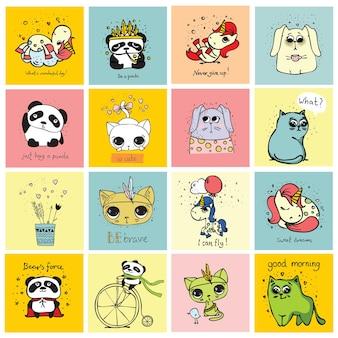 어린이용 인테리어 배너 및 포스터를 위한 스칸디나비아 스타일의 동물이 있는 카드