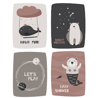 Cards with cute animals