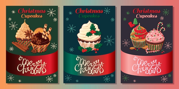 Cards with different kinds of cupcakes decorated with christmas candies, fruits and nuts.