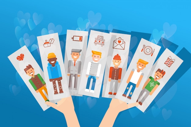 Cards with differnt character set  illustration. choice between men, girl s hand holding image guys and date icons.