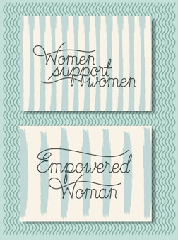 Cards with feminist message hand made font
