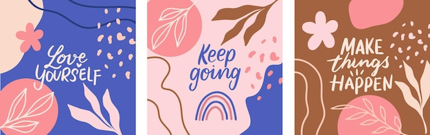 Cards with hand drawn lettering phrases