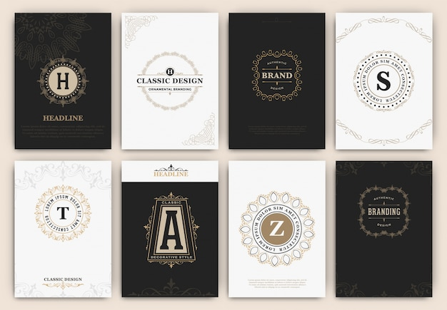 Cards with ornamental logos