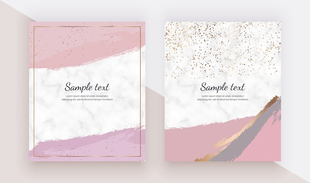 Cards with pink watercolor brush stroke texture, gold confetti on the marble texture.