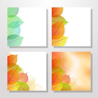 Cards with stylize autumn leaves