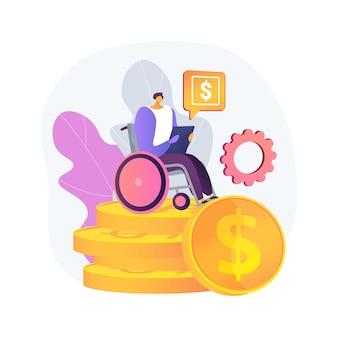 ケア手当抽象的な概念図。年金拠出金、老人障害者、定期介護、歩行器の年配の女性、車椅子、在宅看護師、健康保険