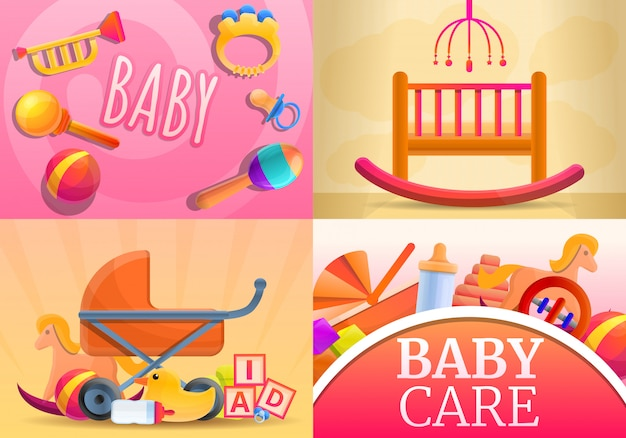 Care baby items illustration set, cartoon style