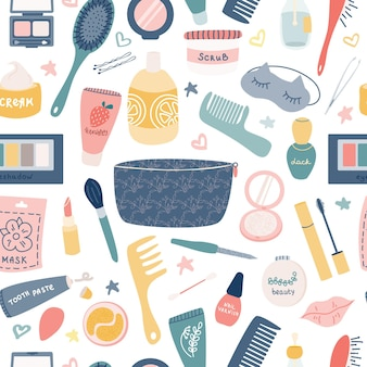 Care cosmetics, women s accessories on a white background. vector seamless pattern.