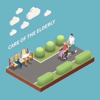 Care of elderly isometric illustration