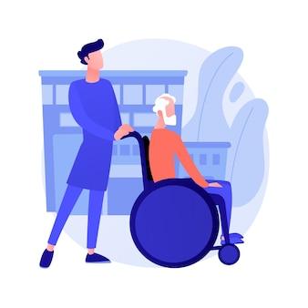 Уход за пожилыми людьми абстрактные векторные иллюстрации концепции. уход за престарелыми, уход за престарелыми, тоскующий по дому, услуги по уходу, счастливые на инвалидной коляске, поддержка на дому, пенсионеры, абстрактная метафора дома престарелых.