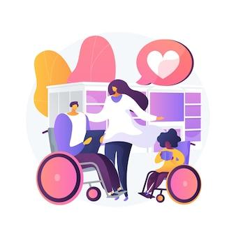비활성화 된 추상 개념 벡터 일러스트 레이 션의 관리. 장애 치료, 다운 증후군, 휠체어 노인, 노인을위한 도움, 전문적인 가정 간호 서비스 추상적 인 은유.