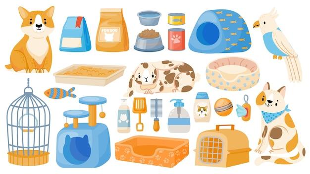 家畜、犬、猫、オウムのケアツールとアクセサリー。漫画のペットショップアイテム、食品、キャリア、ボウル、おもちゃ、ベッドのベクトルセット。白で隔離された機器とスナックで買い物